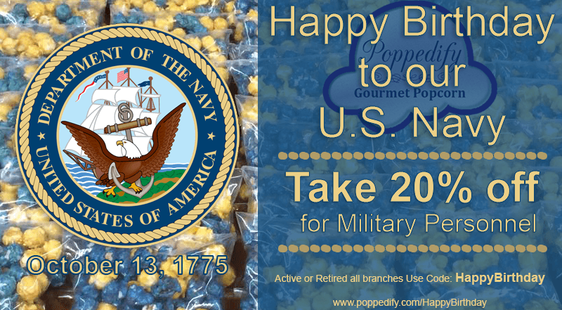 10-13-15 Happy Birthday Navy 20Percent Off Code HappyBirthday
